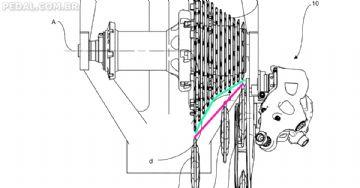 Patente da Campagnolo indica grupo de 13V com polias que seguem a curvatura do cassete