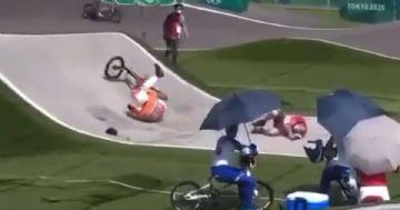 Olimpíadas 2020 - Acidente com staff nos treinos do BMX Racing
