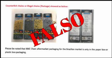KMC emite alerta para correntes falsificadas no Brasil